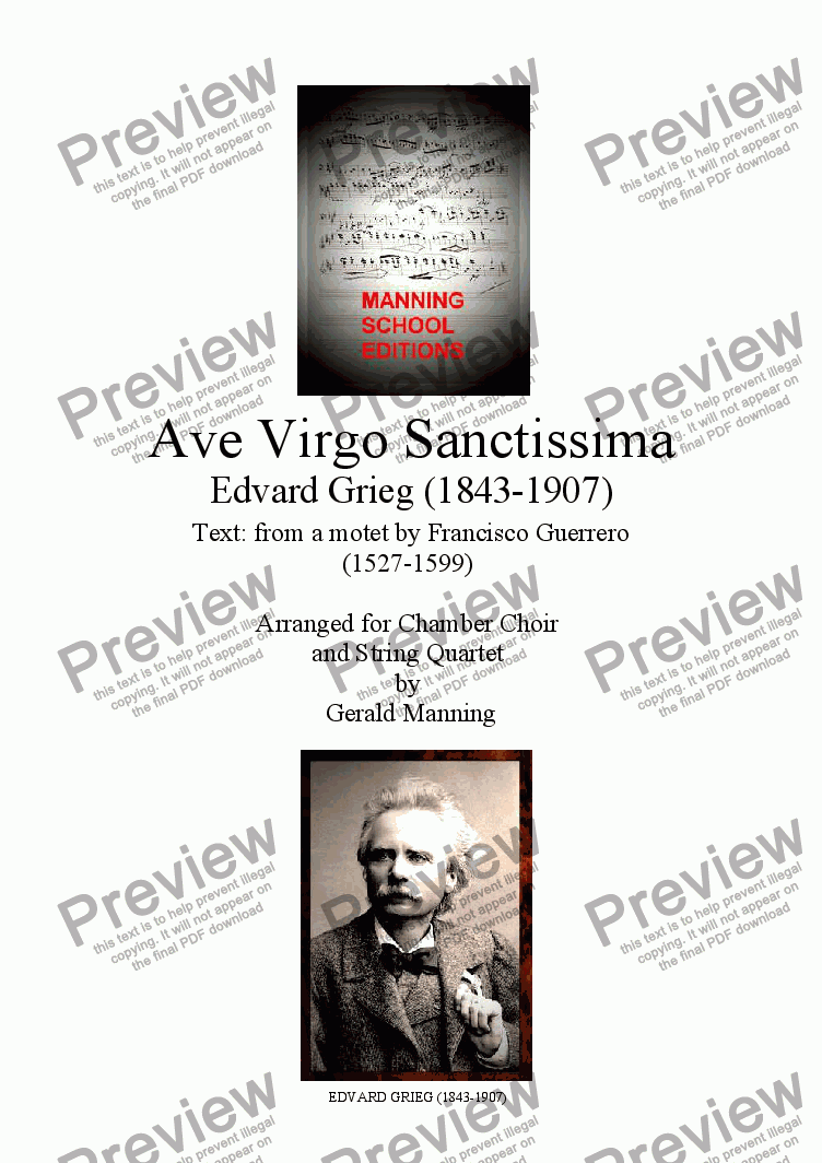 page one of Choral Classics - Grieg, E. - Ave Virgo Sanctissima - arr. for Chamber Choir & String Quartet  by Gerald Manning