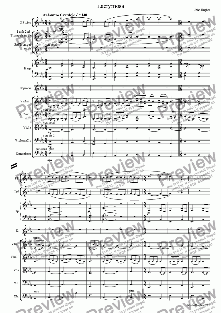 page one of An English Requiem - Lacrymosa