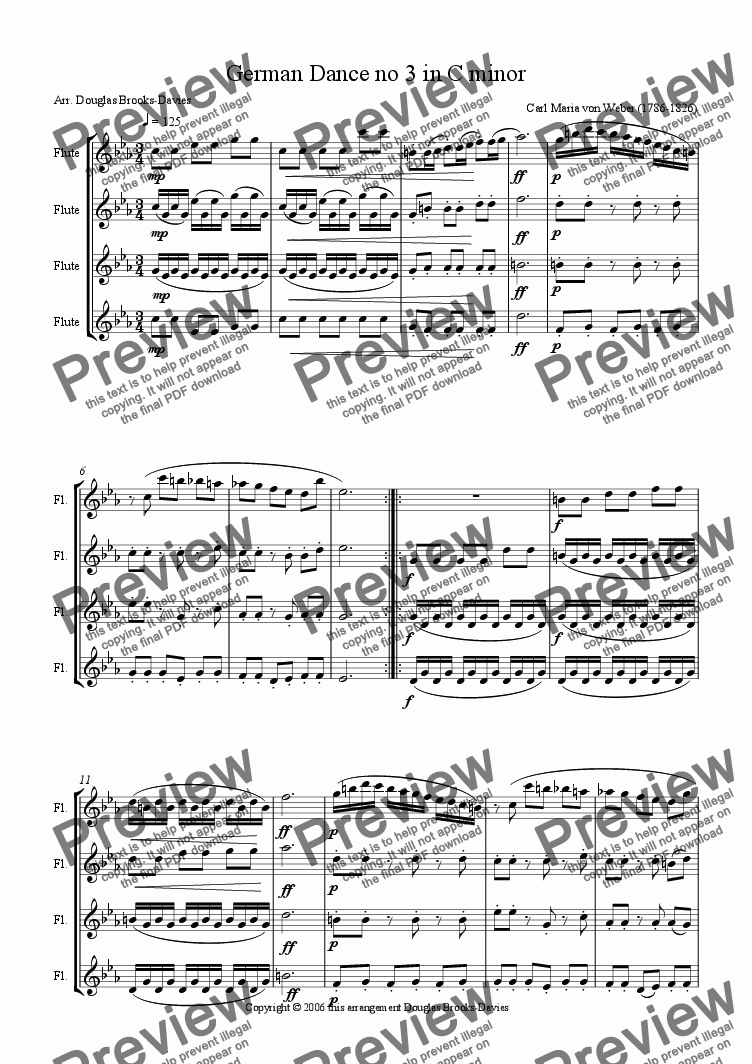 page one of Weber: German Dance no 3 in C minor for four flutes