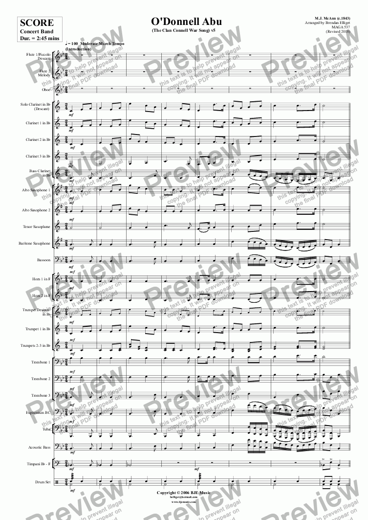 page one of O'Donnell Abu (The Clan Connell War Song) - Concert Band