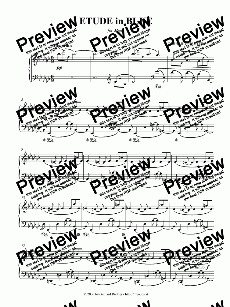 page one of ► Prelude in Blue (op. 14)