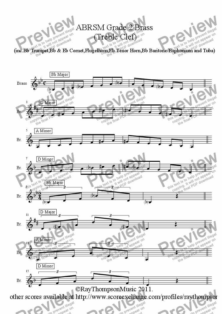page one of Brass Treble Clef - Grade 2 Scales & Arpeggios( ABRSM format )