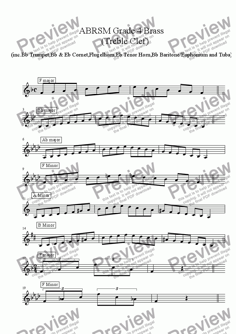 Brass Treble Clef - Grade 4 Scales & Arpeggios( ABRSM format ) for Solo  instrument (Trumpet in Bb) by Ray Thompson - Sheet Music PDF file to  download