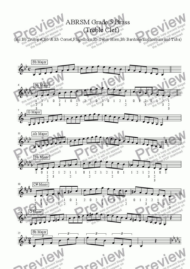 Brass Treble Clef - Grade 5 Scales & Arpeggios (with some fingerings)(  ABRSM format ) for Solo instrument (Trumpet in Bb) by Ray Thompson - Sheet