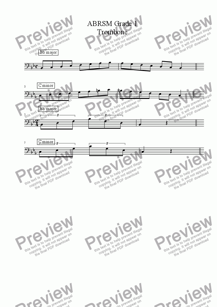 page one of Trombone  - Grade 1 Scales & Arpeggios( ABRSM format )