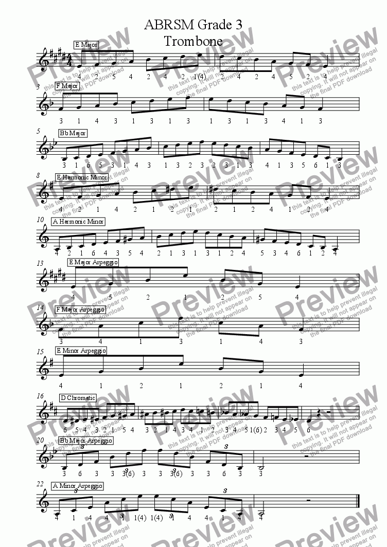 page one of Trombone - Grade 3 Scales & Arpeggios Treble Clef with slide positions( ABRSM format )