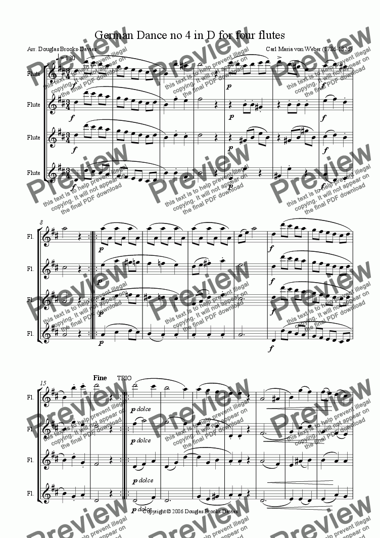 page one of Weber: German Dance no 4 in D for four flutes