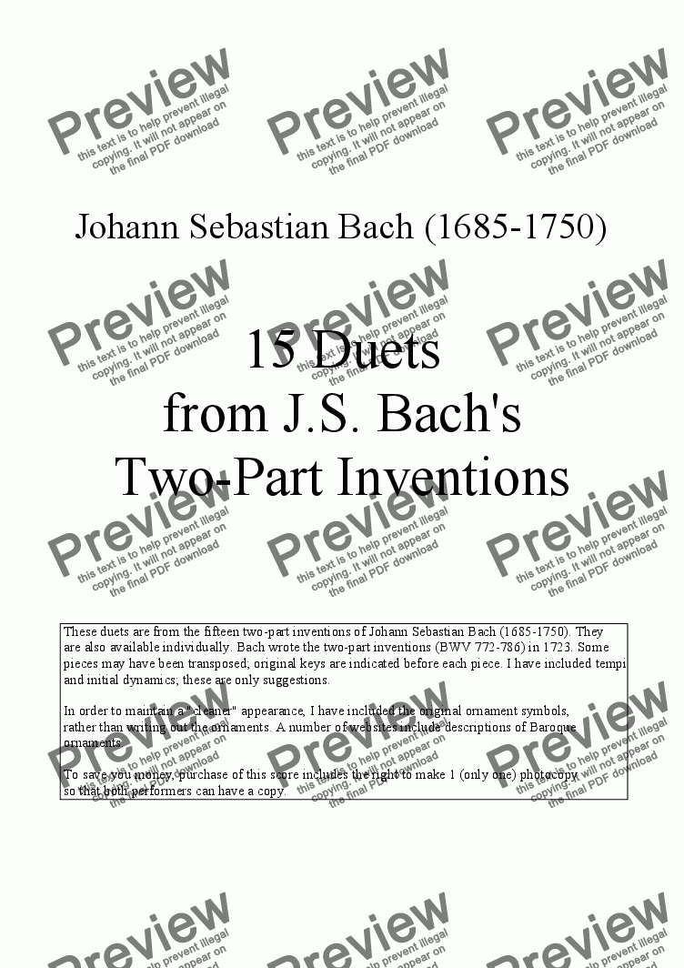 page one of 15 Duets for Clarinet and Cello from J.S. Bach's Two-part Inventions, BWV 772-786