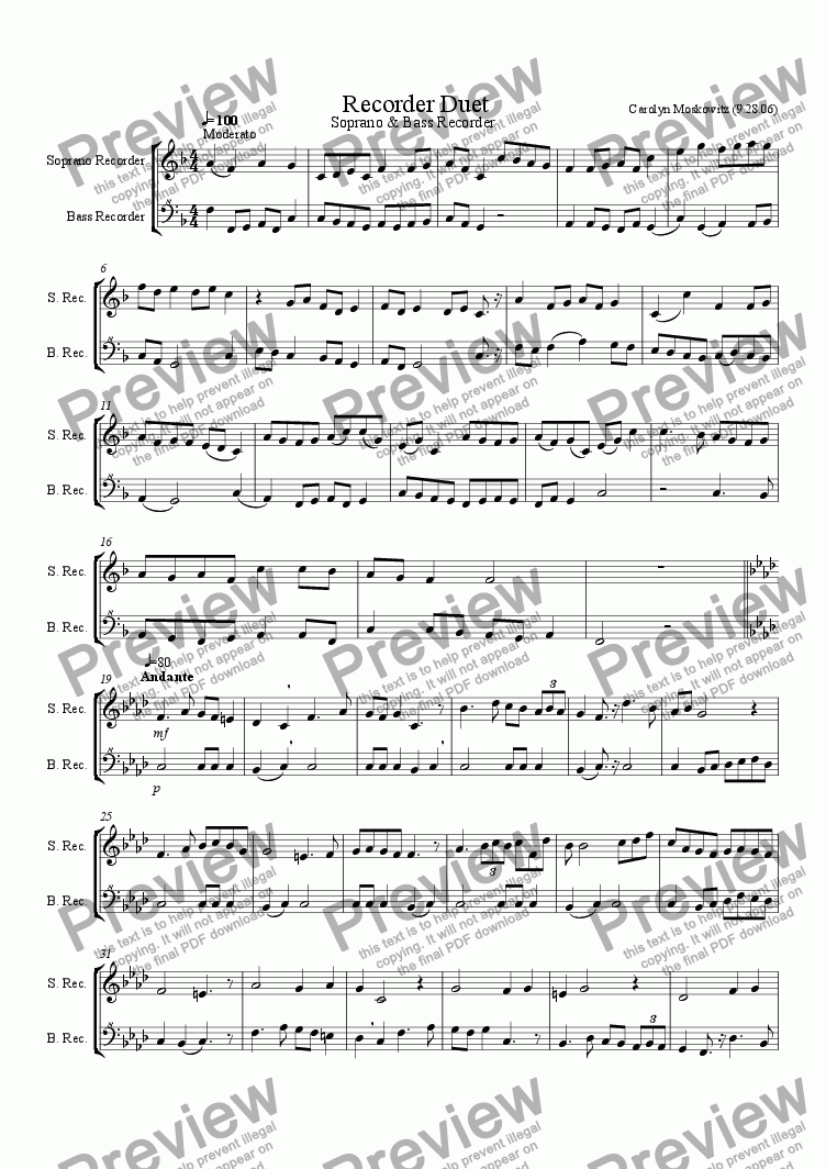 page one of Recorder Duet (Soprano, Bass)