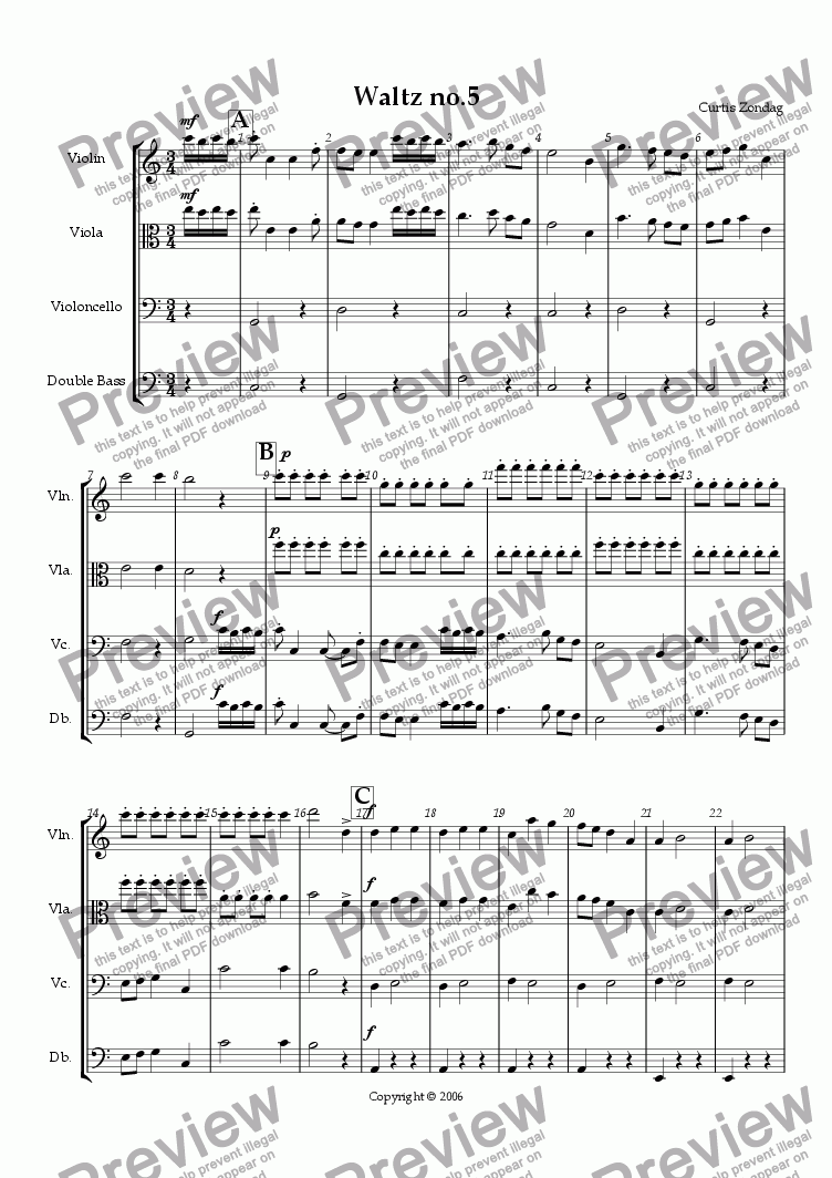 page one of Waltz No.5