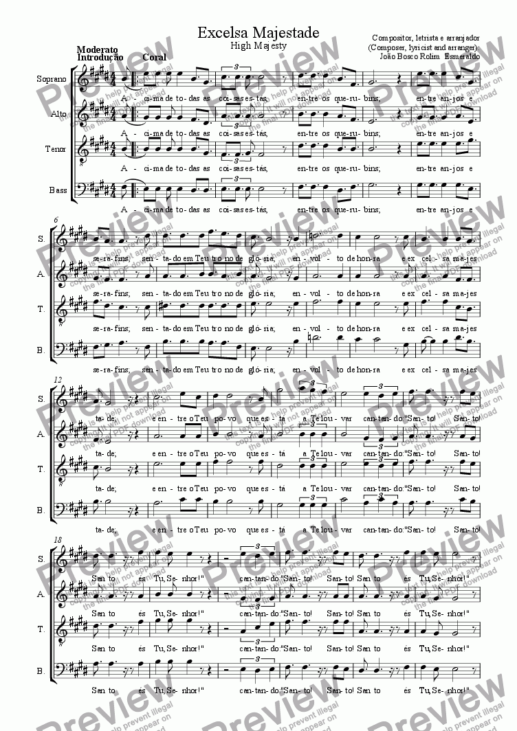 page one of 14- Excelsa Majestade (Highest Majesty) - S� Coral (Only Choir)