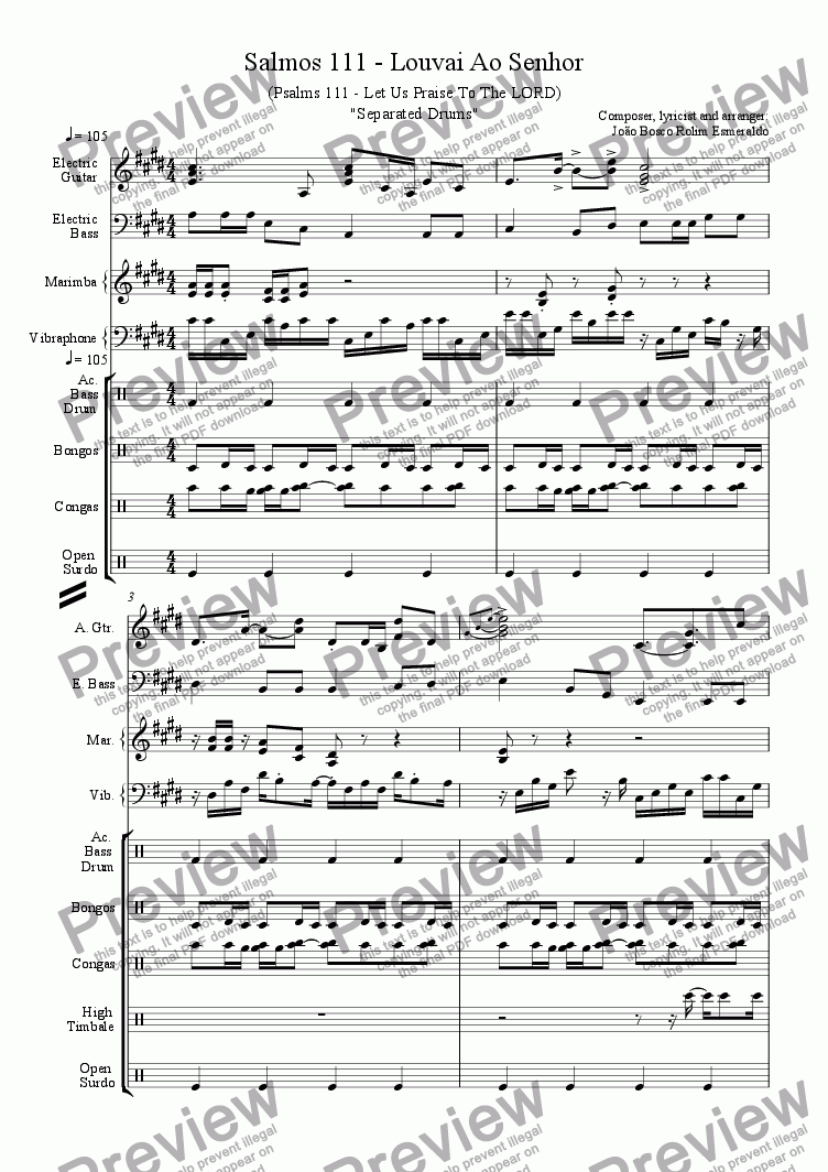 page one of 11- Salmos 111 - South African Theme - Separated Drums