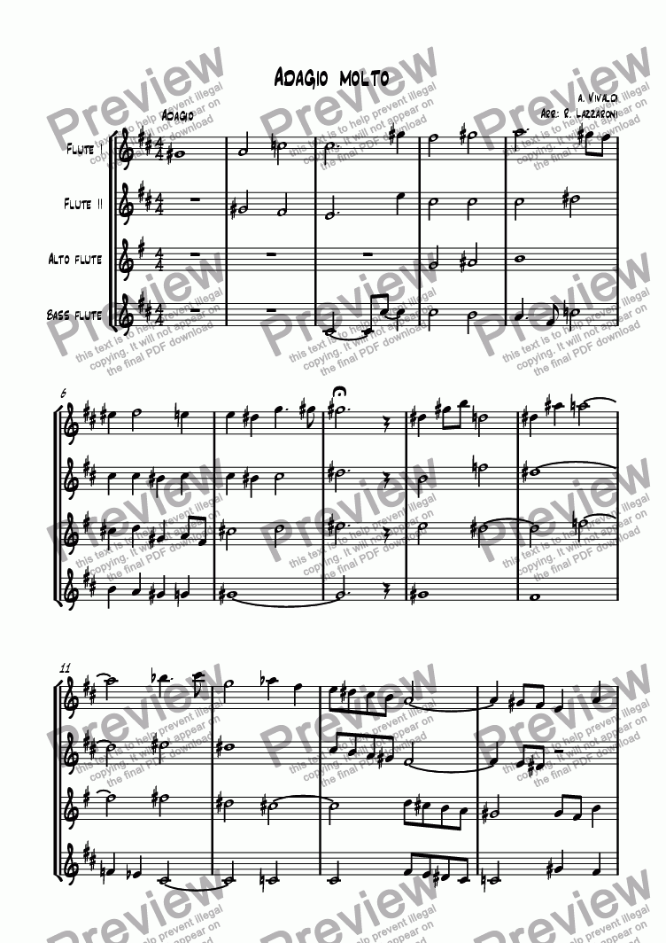 page one of Adagio Molto from Sinfonietta in b minor, No. 7 RV.169 (transposed version)