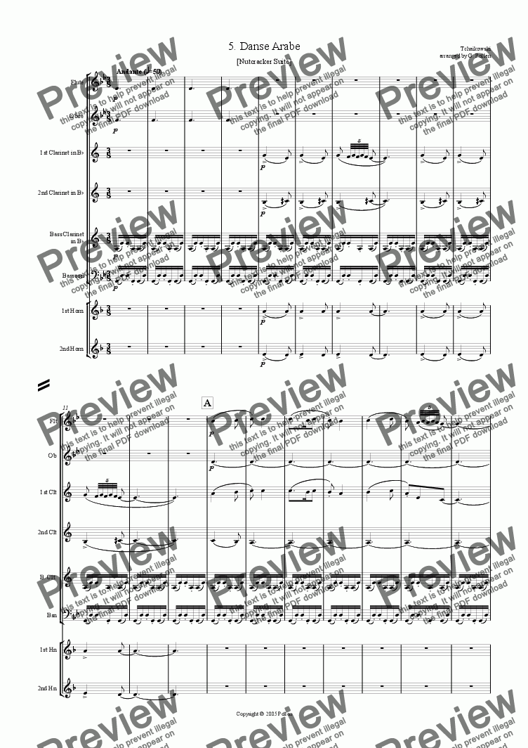 Nutcracker Suite - 5  Arabian dance (ME) for Large mixed ensemble by  Tchaikowsky - Sheet Music PDF file to download
