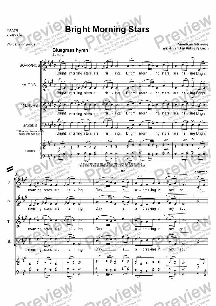page one of Bright Morning Stars (a cappella)