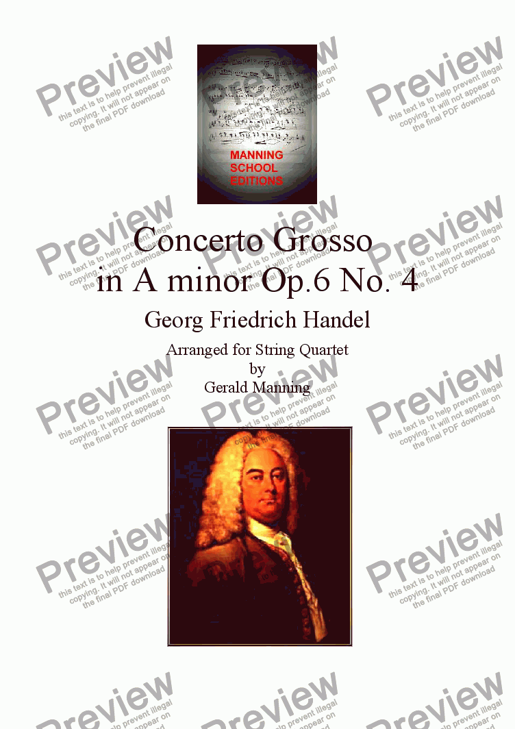 page one of HANDEL, G.F. - Concerto Grosso Op.6, No,4 in A minor - arr. for String Quartet by Gerald Manning