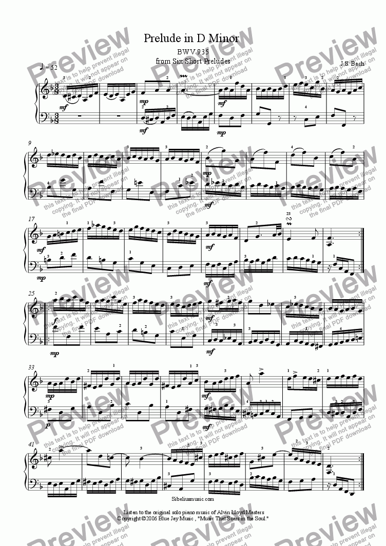 page one of  Bach's Prelude in D Minor BWV 935