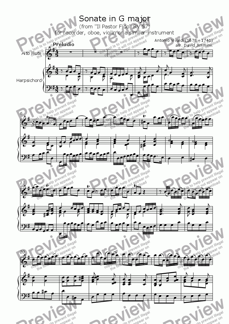 page one of Sonata in G Major (RV 57)