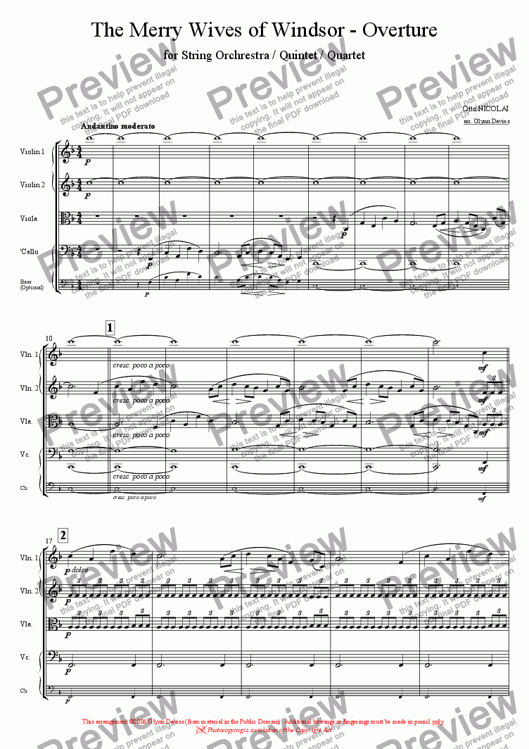 page one of The Merry Wives of Windsor - Overture