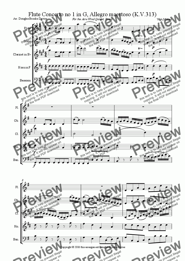 page one of Mozart: Flute Concerto no 1 in G, K. 313 (1st movement) for wind quintet