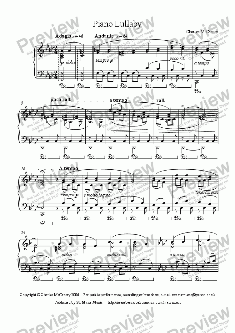 page one of Piano Lullaby I
