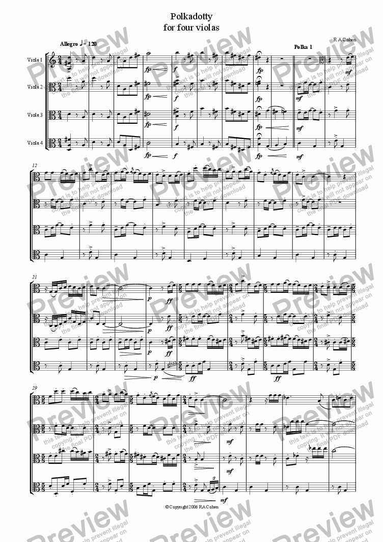 page one of POLKADOTTY - for viola quartet