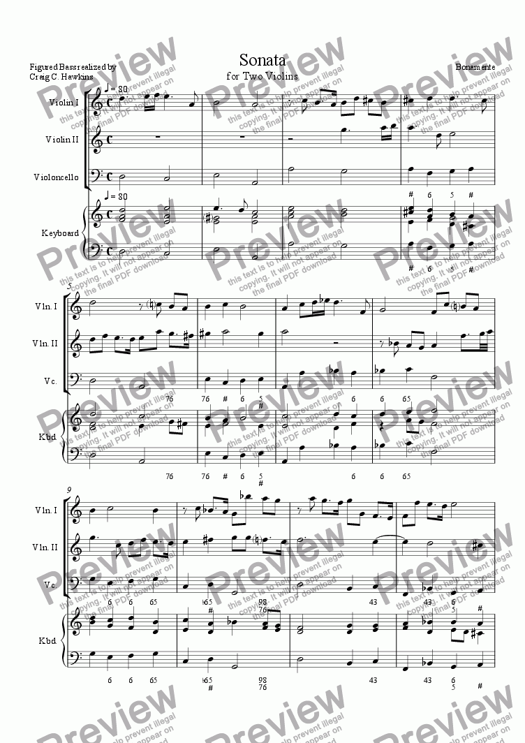 page one of Sonata for Two Violins