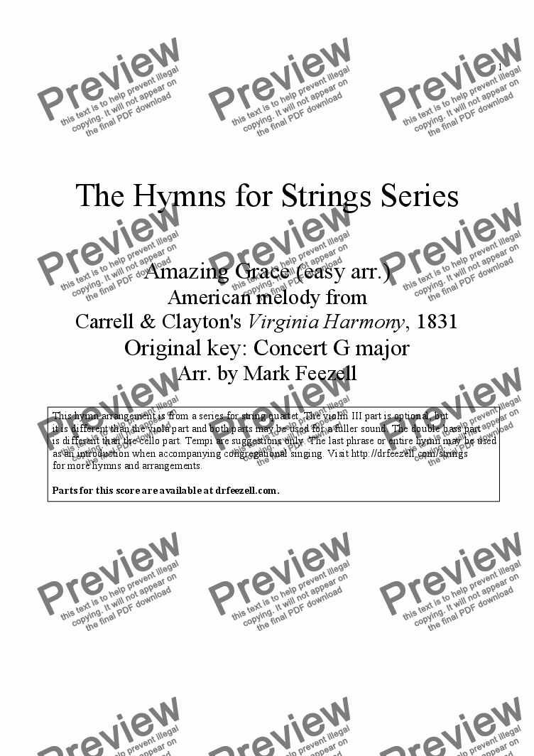 page one of Hymns for Strings: Amazing Grace (easy arrangement), arr. for String Orchestra