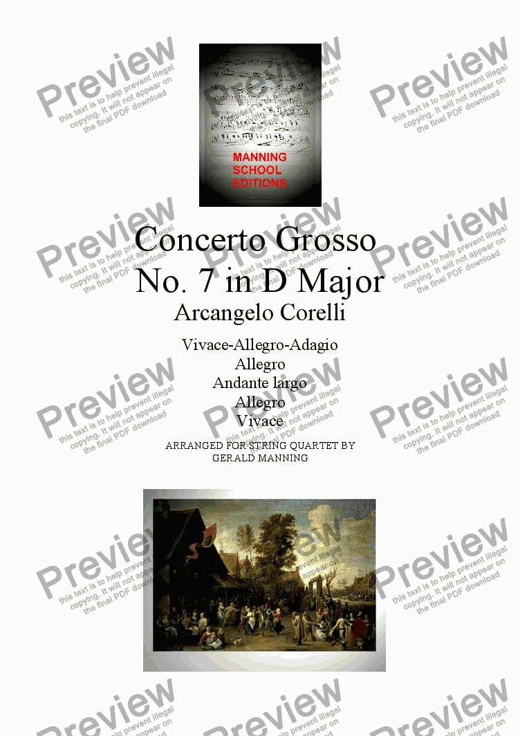 page one of CORELLI, A. - Concerto Grosso No. 7 in D Major - arr. for String Quartet by Gerald Manning
