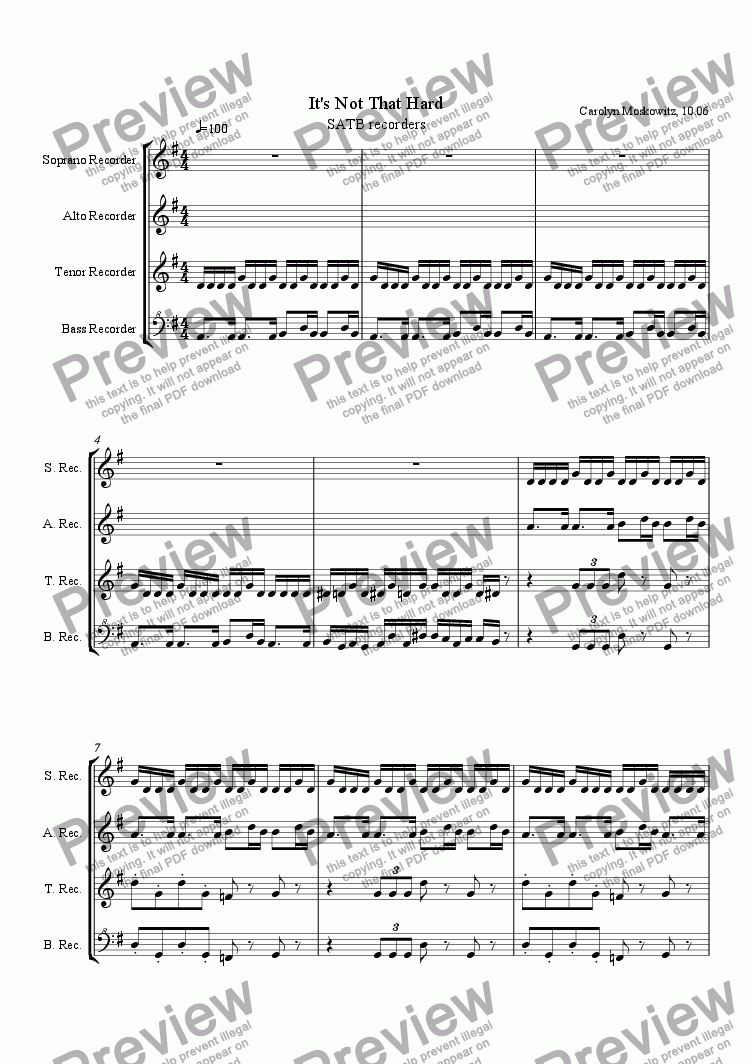 page one of It's Not That Hard (SATB Recorders)