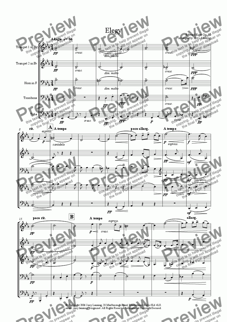 page one of Elegy - Elgar (brass quintet)