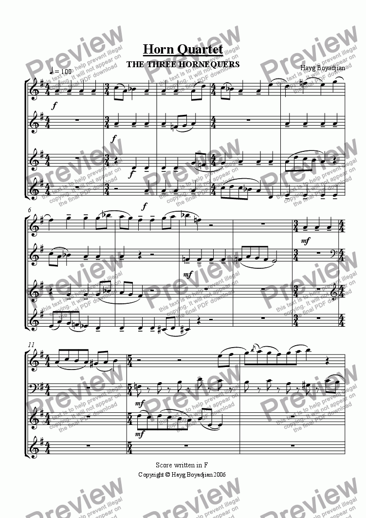 "page one of Horn Quartet ""The Three Hornequers"""