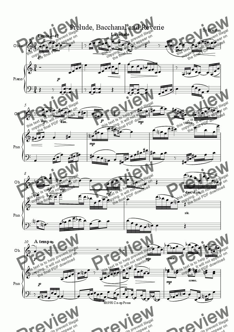 page one of Prelude, Bacchanal and Reverie for Oboe and Piano