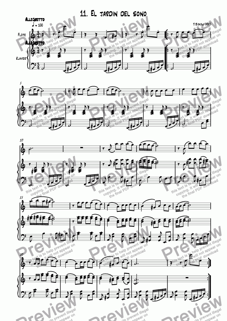 page one of Flute book 11 (El Jardin del sono)