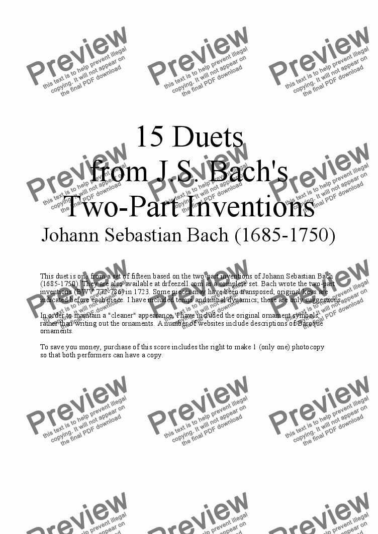 page one of Bach's Two-part Invention No. 11 (arr. for Clarinet and Bass Clarinet)