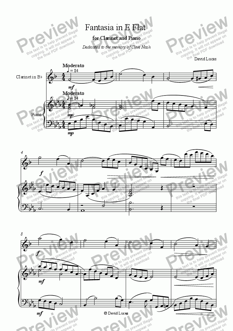 page one of Fantasia in E Flat for Clarinet and PianoASALTTEXT
