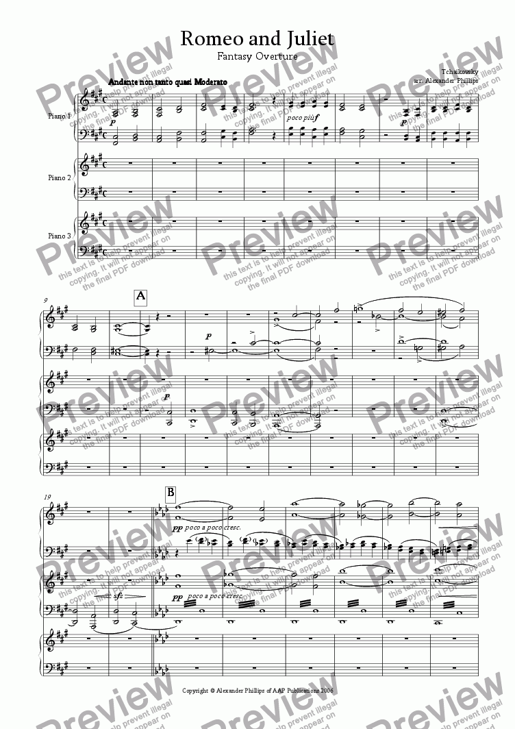 page one of Romeo and Juliet Fantasy Overture