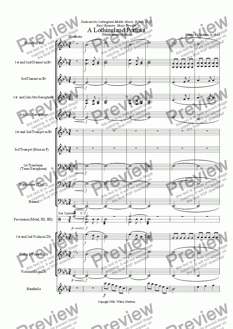 page one of A Lothingland Portrait (Optional strings and handbells)