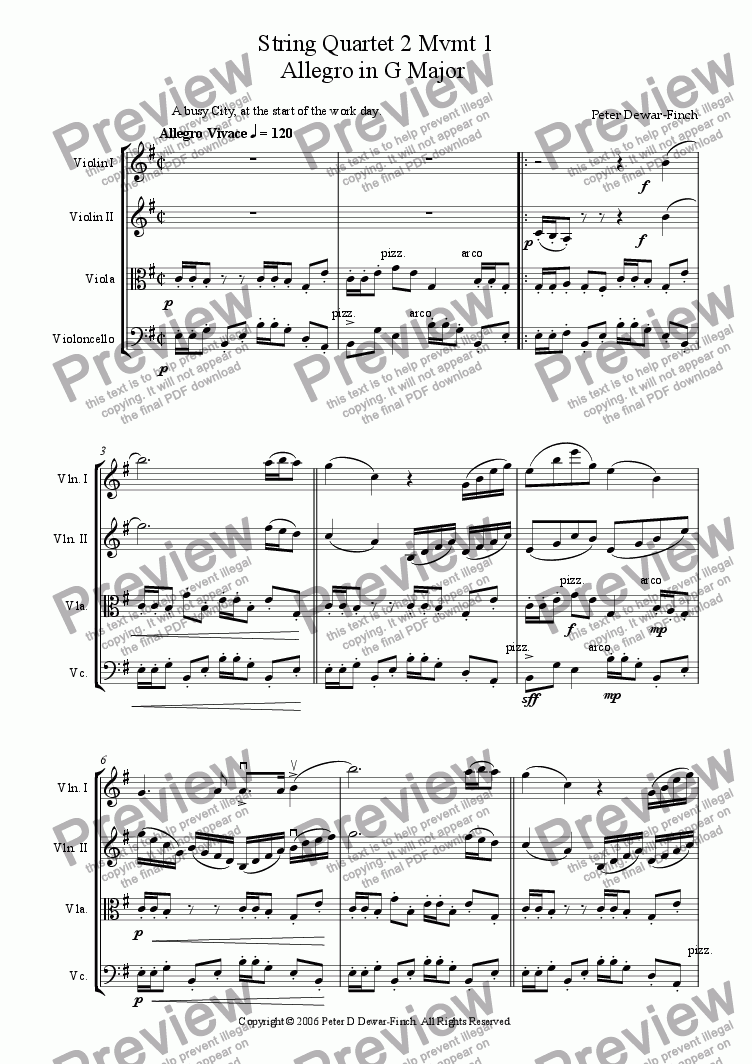 page one of String Quartet Number Two �9/11�. Movement One, Allegro in G Major