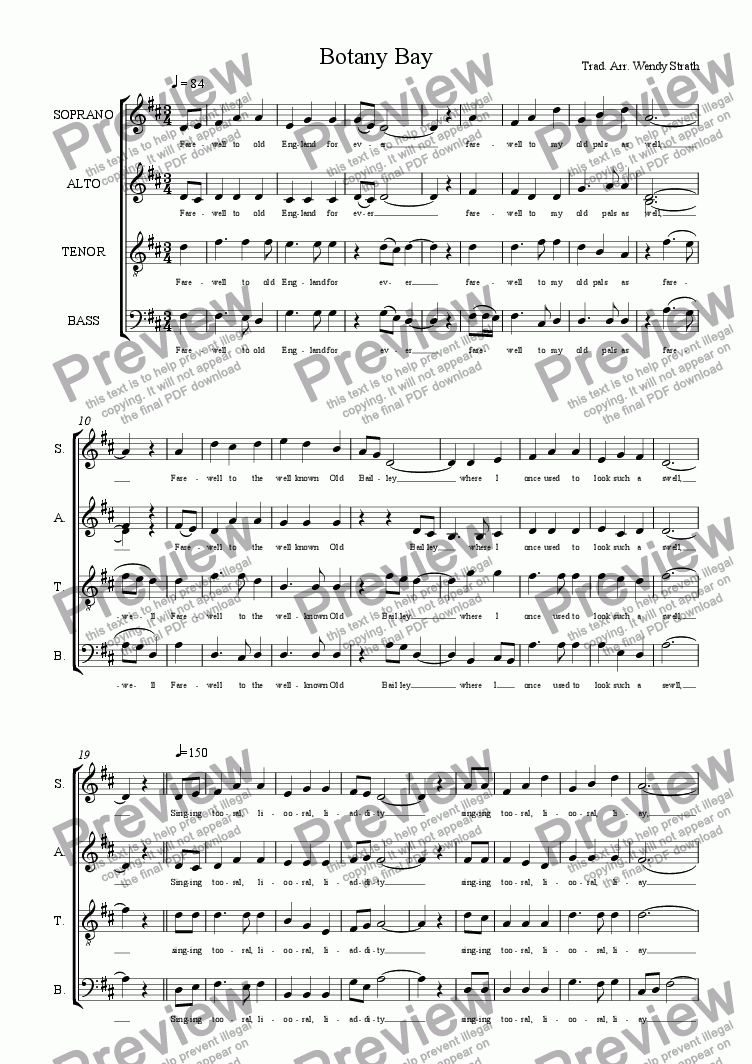 page one of Botany Bay(SATB)ASALTTEXT