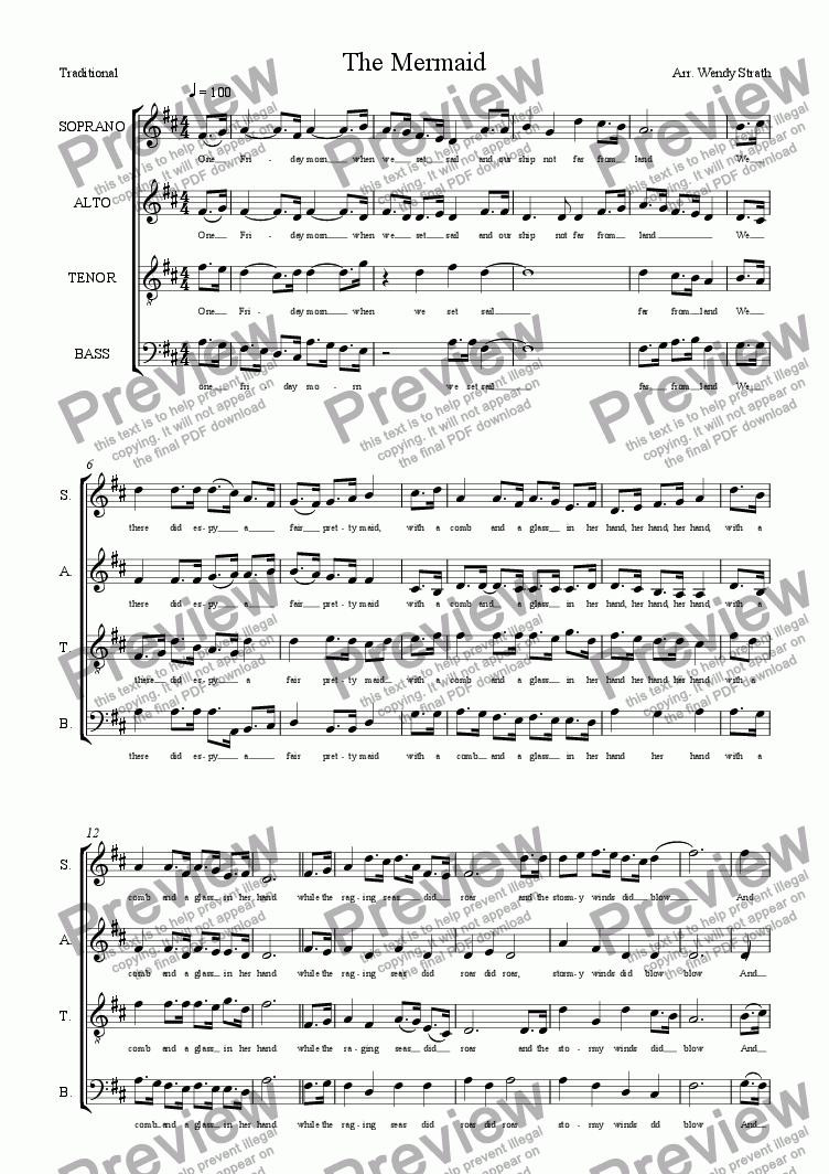 page one of The Mermaid(SATB)