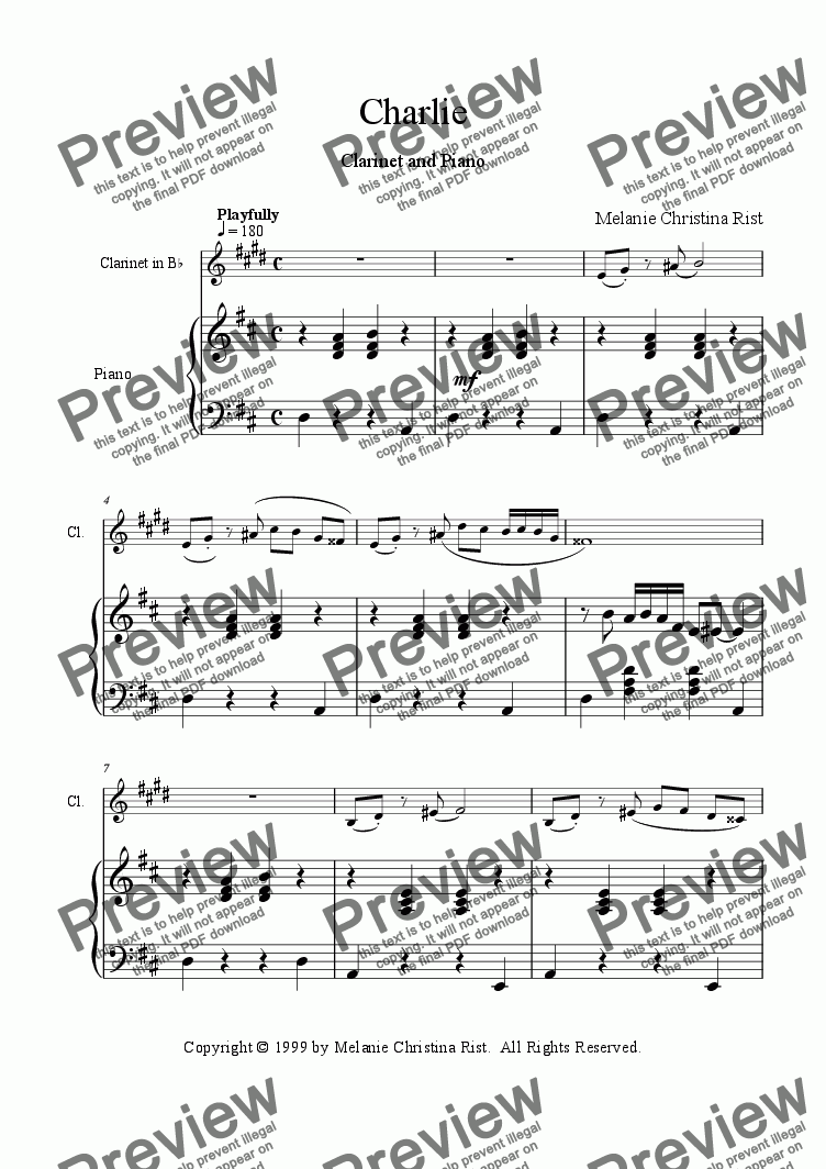 page one of Charlie (clarinet & piano)ASALTTEXT