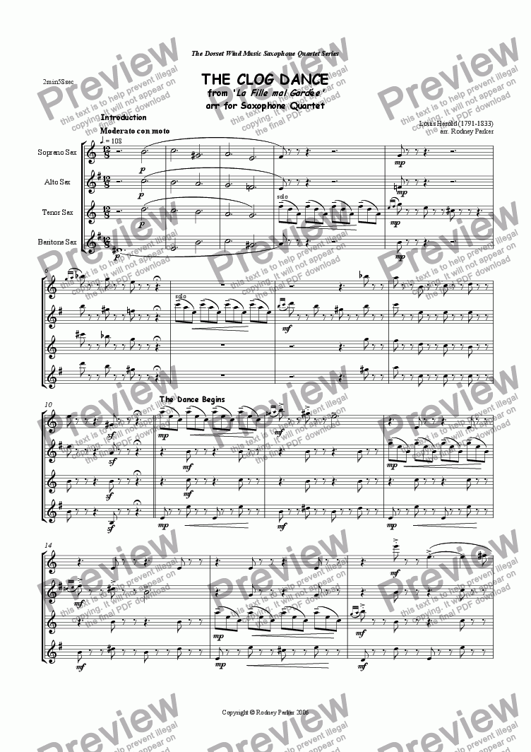 page one of The Clog Dance arr for Saxophone Quartet