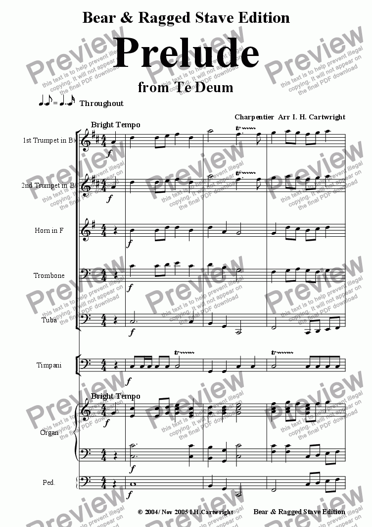 page one of Prelude from Te Deum for Brass Quintet (opt.Timp/Organ)
