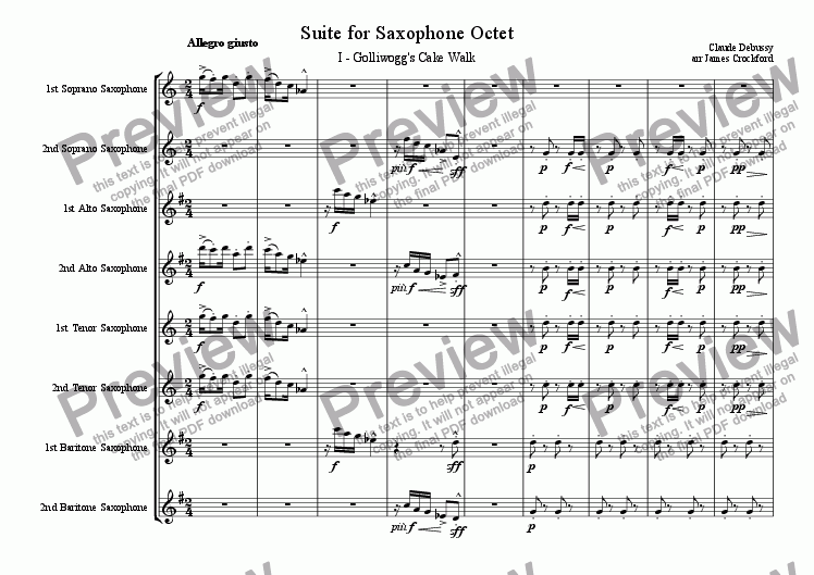 page one of Suite for Saxophone Octet/Ensemble (SSAATTBB)