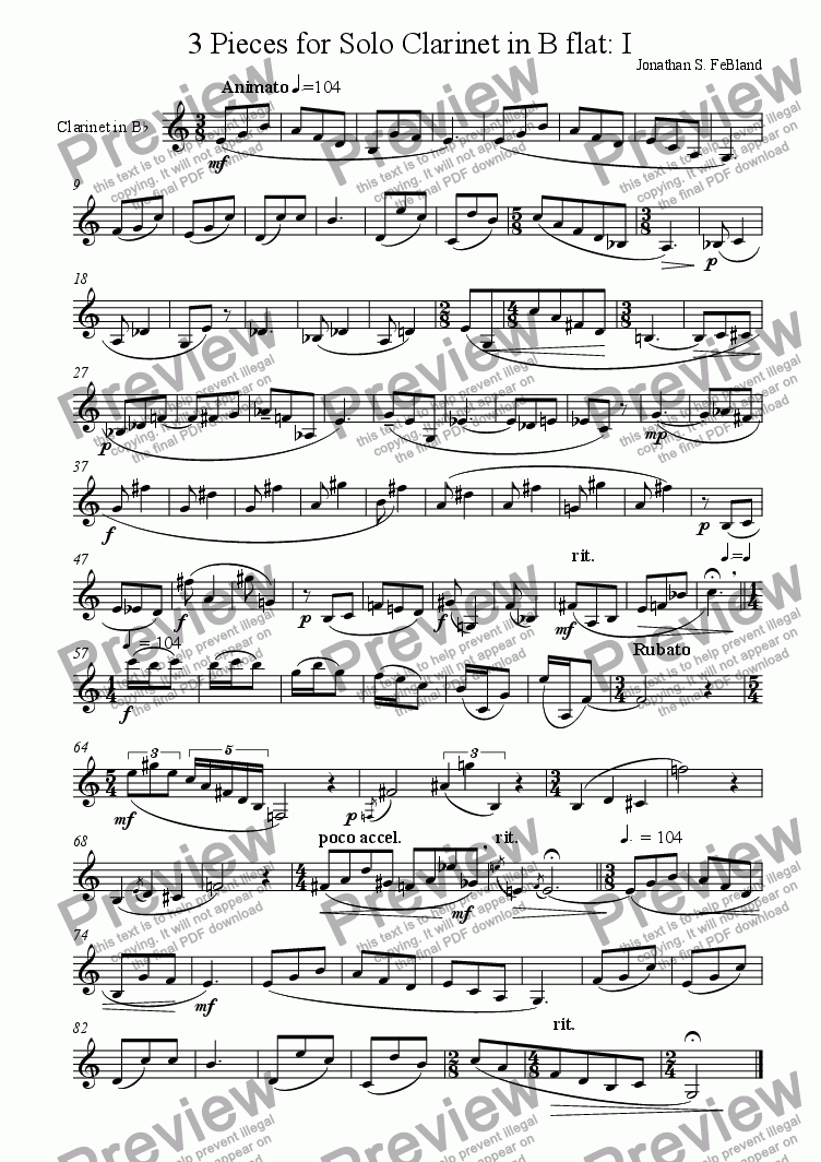 page one of 3 Pieces for Clarinet (No.1)ASALTTEXT