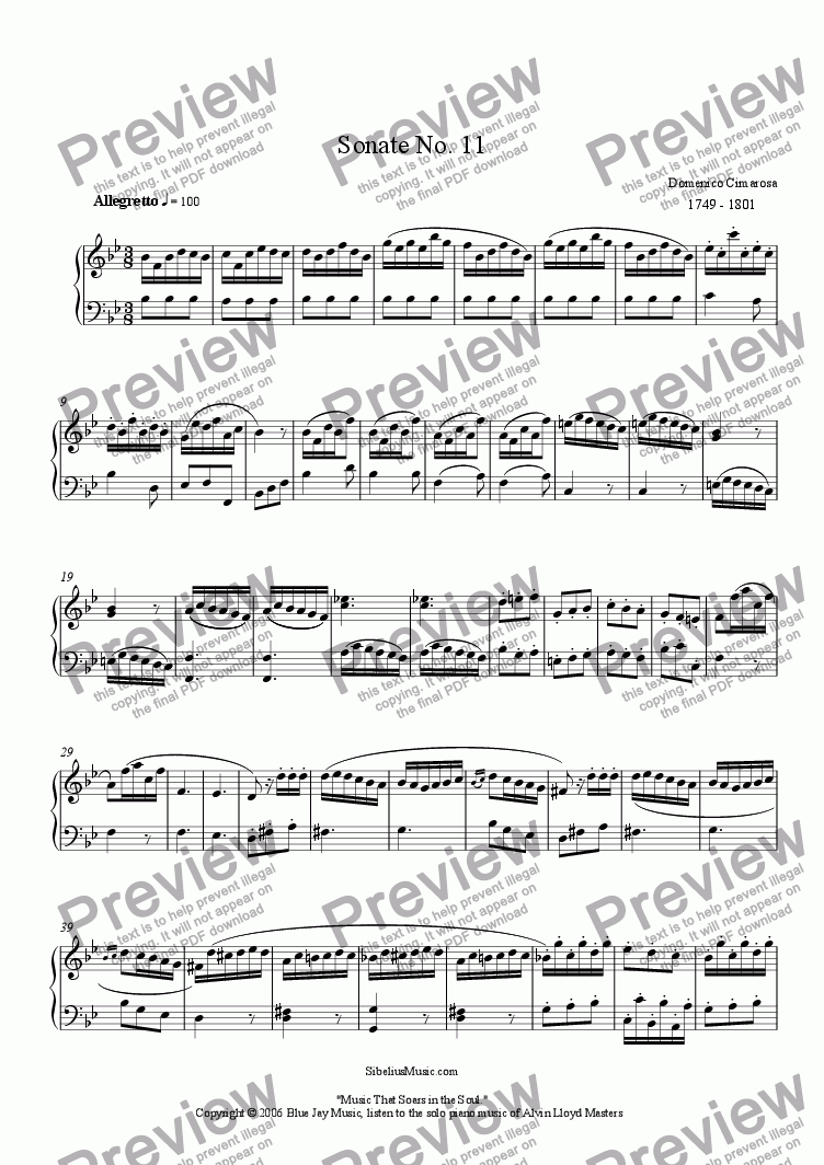 page one of Cimarosa's Sonate No. 11