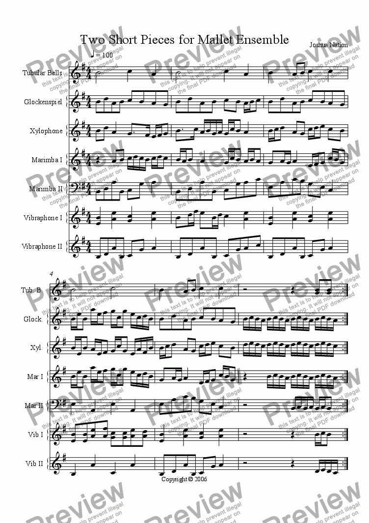 page one of Two Short Pieces for Mallet Ensemble