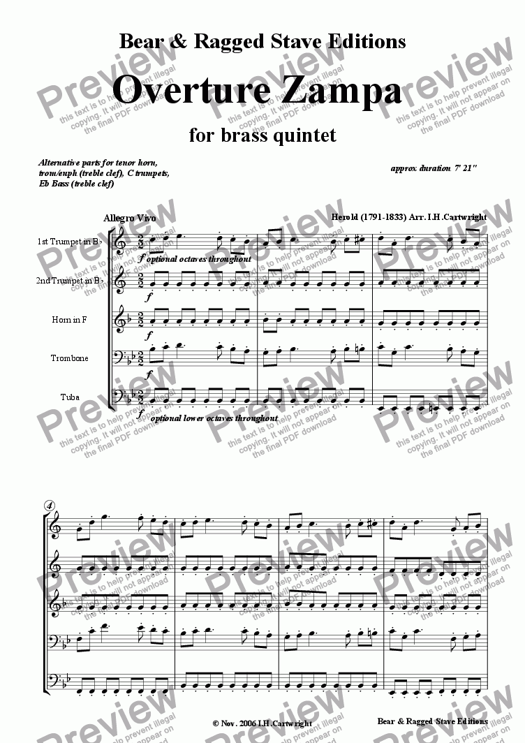 page one of  Zampa Overture for brass quintet