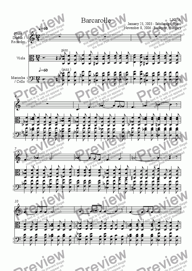 page one of Barcarolle